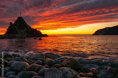Sunset on the seaside of Liguria - 241757645