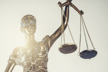 The Statue of Justice - lady justice or Iustitia / Justitia the Roman goddess of Justice © rcfotostock
