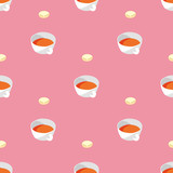 Cups with Tea Seamless Pattern - 241770072