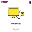 Computer vector icon. Best modern, simple, isolated, flat icon for website design or mobile applications, UI / UX design vector format