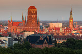 Panorama of Gdansk at sunset