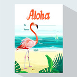 Flamingo and tropical leaf on sea background . Vector illustration for party invitation card