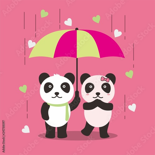 Cute and romantic couple panda vector illustration for valentine day