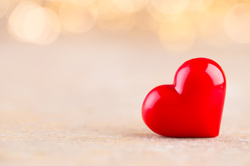 Red heart bokeh background, valentine day greeting card. © gitusik