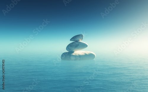 3D landscape with balancing pebbles in the ocean