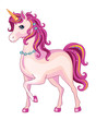 Pink unicorn on a white background. Illustration of a child. Magic. Vector.