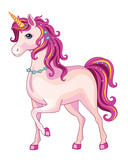 Pink unicorn on a white background. Illustration of a child. Magic. Vector. - 241797872