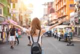 Female tourists Being happy at Khaosan Road Bangkok, Thailand - 241808648