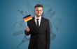 Leinwanddruck Bild - Elegant man with sightseeing concept on the background  and flag on his hand