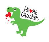 Fototapeta Dinusie - Cute green dinosaur crushing heart. Valentine dinosaur vector illustration. © JungleOutThere