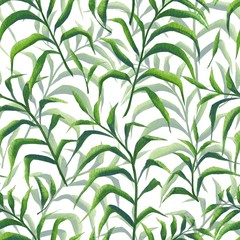 Seamless pattern. Palm leaves in watercolor style © Gribanessa