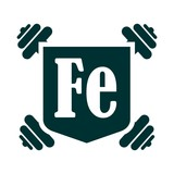 Fe text on shield with dumbbells sticker. Image relative for gym and bodybuilding. Remastered iron chemical element tag. Chemistry in metaphor design. Bodybuilding club emblem - 241813885
