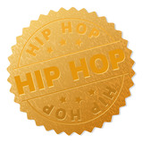 HIP HOP gold stamp award. Vector golden award with HIP HOP label. Text labels are placed between parallel lines and on circle. Golden surface has metallic structure.