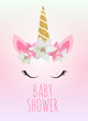 Baby shower with unicorn invitation. Vector Illustration