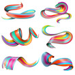 Realistic Colorful Brush Strokes Set