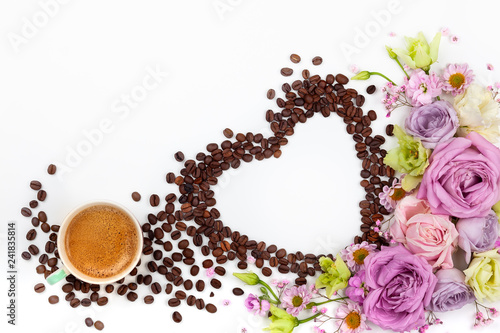 Valentine day greeting card with flowers and cup of coffee.
