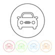 Car symbol icon in a thin line style vector simple car symbol sign with four color variations vector illustration isolated on a white background