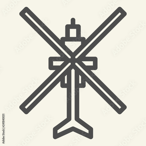 Helicopter top view line icon. Aviation vector illustration isolated on white. Chopper outline style design, designed for web and app. Eps 10.