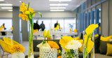 Yellow and White Flower Display for decor at corporate event