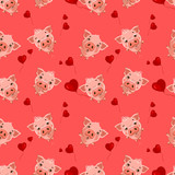 Seamless pattern with cute little emoji pigs and a hearts.  Seamless pattern for Valentine's Day.