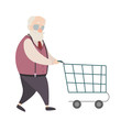Grandfather shopping cartoon characters set on white background.