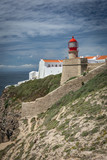 Cape Saint Vincent lighthouse in Algarve, Portugal, most southwestern point of Portugal and of continental Europe - 241846450