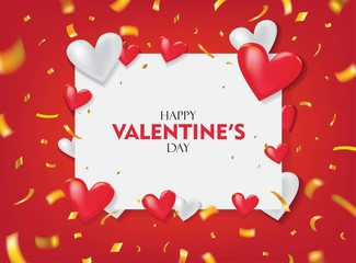 Happy Valentine's Day Greeting. Red and White Hearts on Red and White Background with Gold Confetti Vector Design. © ywouz