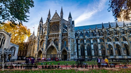 Time lapse view of Westminster Abbey on the centenary commemoration marking the end of WW1