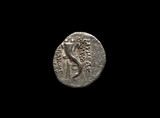 Ancient silver coin isolated on black - 241847201