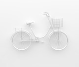 Single retro bicycle painted in monochrome white. Isolated on white background. Abstract concept. 3D render.