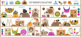 Pet rodents home accessories icon set flat style isolated on white. Healthcare collection. Create own infographic about guinea pig, rat, hamster, chinchilla, mouse, rabbit - 241849678