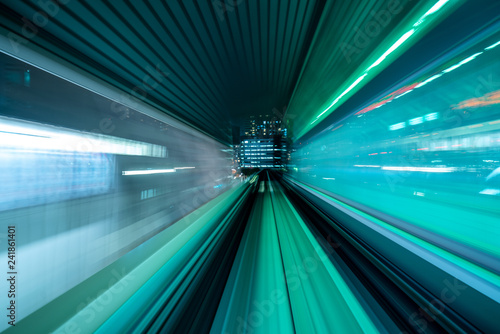 Motion blur from Yurikamome Line moving inside tunnel in Tokyo, Japan - 241861401