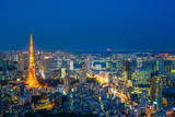 Tokyo tower night time, wide angle view, Japan.