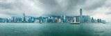 Panorama view of harbour in Hong Kong on rainy day,