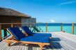 Bed for sunbathing on terrace in resort for tourist