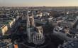 Leinwanddruck Bild - Aerial view of Votivkirche in Vienna, Austria