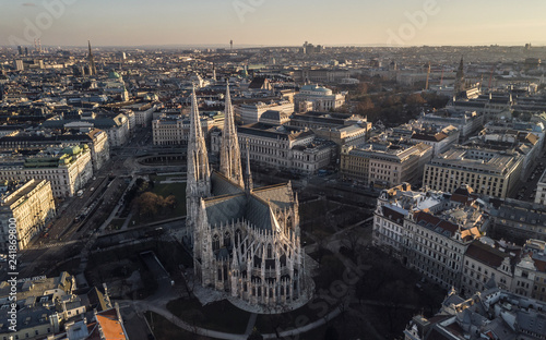 Aerial view of Votivkirche in Vienna, Austria