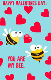 Cute Valentines day card with funny cartoon bees on blue background