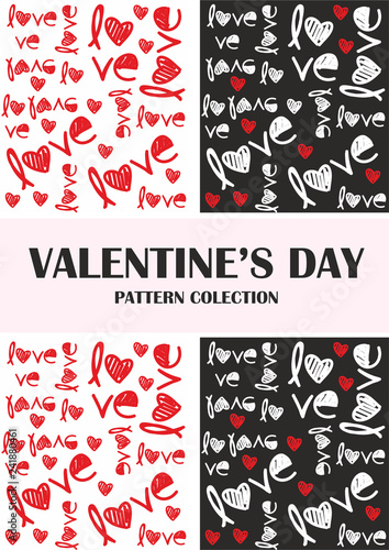 Valentines day red, black love pattern collection - 241880461