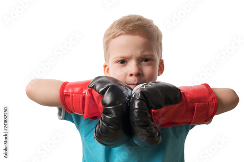 Boy in Boxing gloves on white background