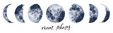 Watercolor moon phases. Hand painted various phases isolated on white background. Hand drawn modern space design for print. - 241885845