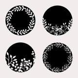 Floral Round Frames Collection - 241886428