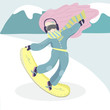 Snowboarder woman vector illustration with the mountains on background.