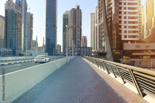 Dubai marina, United Arab Emirates. Sunrise over modern city skyline.