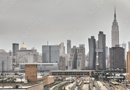 Foto Murales Retro toned picture of New York City skyline on a rainy day, USA.