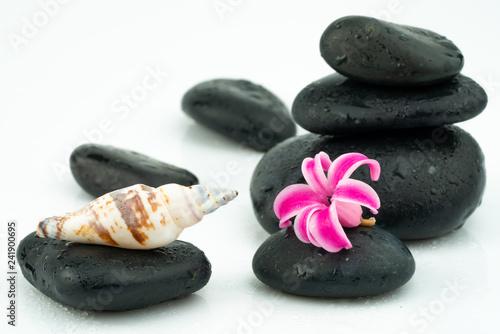 massage equipment and black stones
