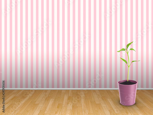 3d illustration rendering of pink vase with plant bud in front of pink striped wallpaper background