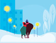 group of people, lover pair,  in winter evening of walk in outdoors, vector illustration of urban landscape in flat cartoon style