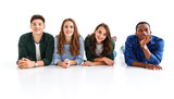 group of cheerful young people men and women isolated on white background
