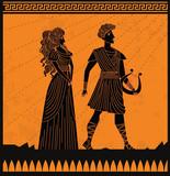 Eurydice and orpheus orange and black scene - 241911687